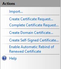 Server Certificates Actions Pane