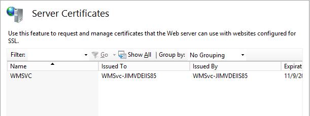Server Certificates Pane